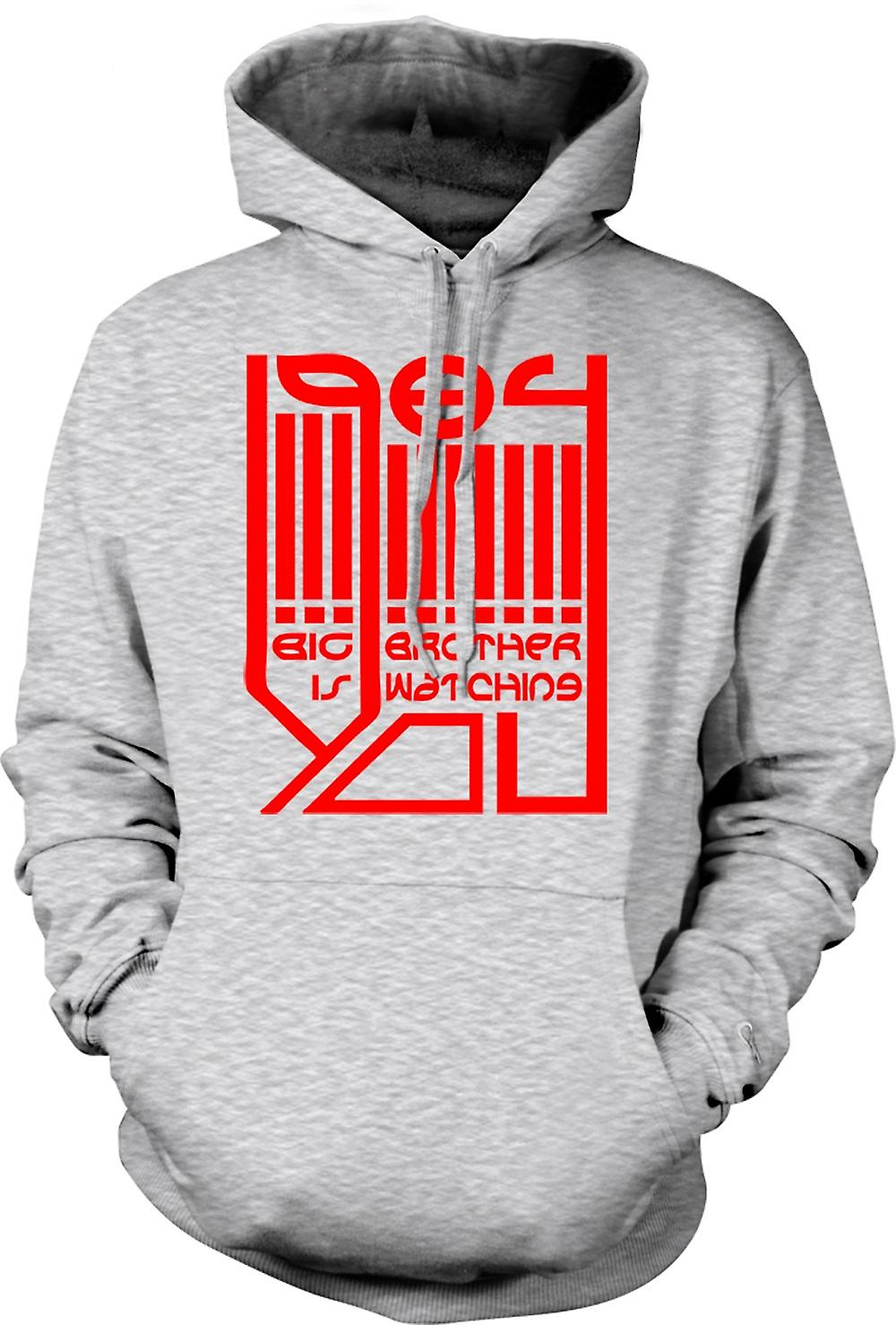 Mens Hoodie - Big Brother Is Watching - Logo - 1984