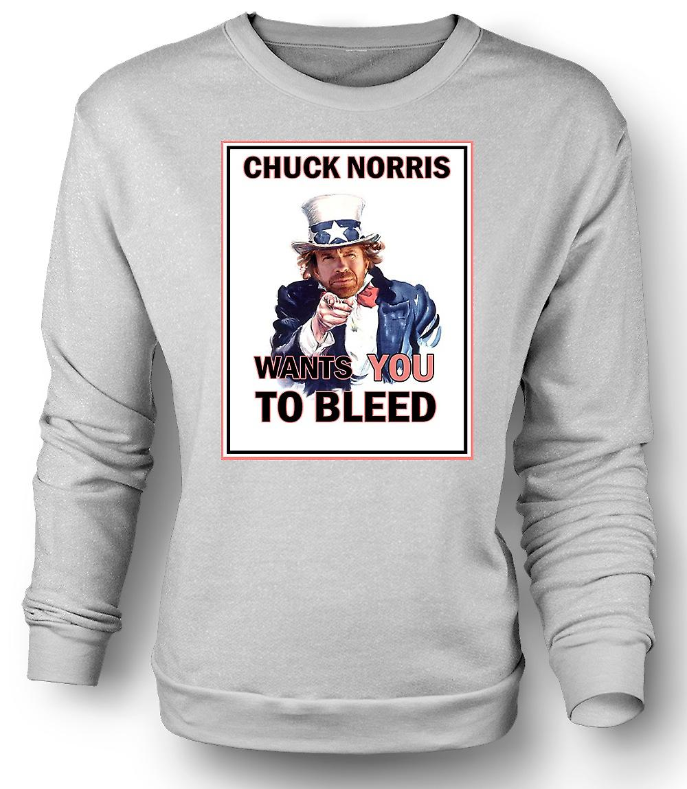 Mens Sweatshirt Chuck Norris Wants You To Bleed