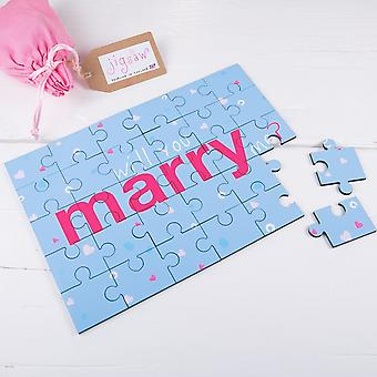 Will You Marry Me Proposal Wooden Jigsaw Secret Message