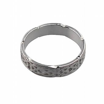 Silver 4mm Celtic Wedding Ring Size Q