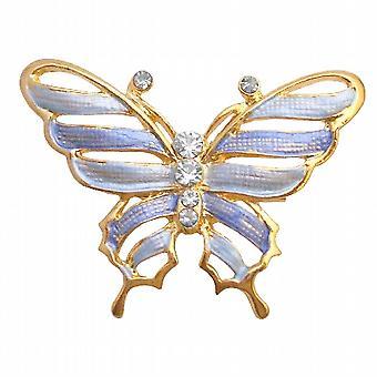 Gull elegant & delikat blå emalje Butterfly kunstneriske Cubic zirkon arbeid