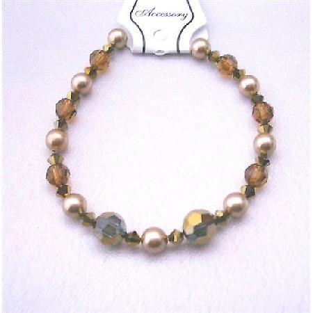 Irridescent Crystal Wedding Bracelet Espresso Crystals Dorado Smoked Topaz w/ Broze Pearls Swarovski Crystals & Pearls