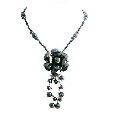 Black Flower Stylish Jet Black Glass Flower Inexpensive Pearl Necklace