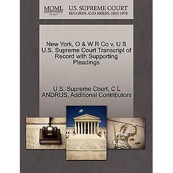 New York O W R Co c. U S Cour suprême relevé de dossier à l'appui des actes de procédure de la Cour suprême des États-Unis