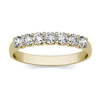 14K Yellow Gold Moissanite by Charles & Colvard 2.5mm Round Wedding Band, 0.42cttw DEW