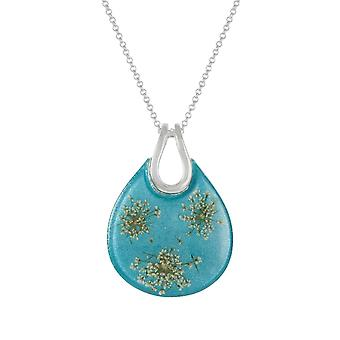 Eternal Collection Nostalgia Turquoise Resin Floral Silver Tone Statement Pendant Necklace