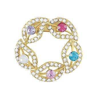 Eternal Collection Honour Multi Coloured Crystal Garland Gold Tone Scarf Clip