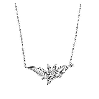 Ah! Jewellery Sterling Silver Flower & Wing Pendant Necklace Set With Clear Crystals From Swarovski