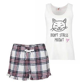 Cat Don't Stress Meowt Pink Tartan Pyjamas