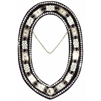 Grand Lodge - Rhinestones White Filling Chain Collar - Gold/Silver on Purple Velvet