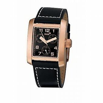 Max Water Resistant Black Leather Gents Fashion Watch MAX434