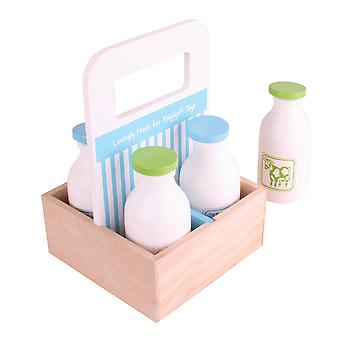 Bigjigs Toys Wooden Milkman Delivery Pretend Role Play Kitchen Realistic
