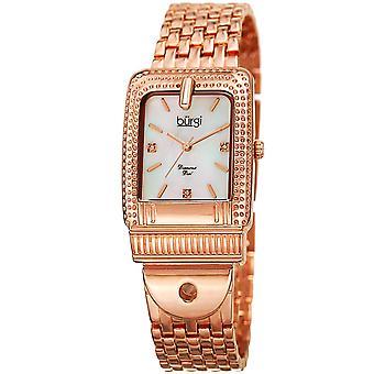 Burgi Women's BUR171RG Mother of Pearl Diamond Buckle Design Bracelet Watch