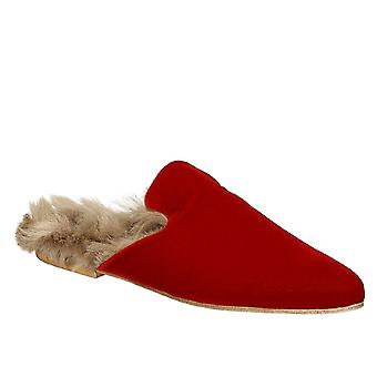 Gia Couture rood fluweel slippers