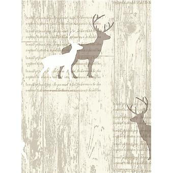 Stag Cream cabine hout behang Arthouse 623001