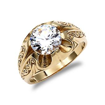 Jewelco London Men's Solid 9ct Yellow Gold White Round Brilliant Cubic Zirconia Solitaire Carved Gypsy Ring Jewelco London Men's Solid 9ct Yellow Gold White Round Brilliant Cubic Zirconia Solitaire Carved Gypsy Ring Jewelco London