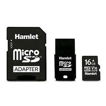 Hamlet micro sdhc 16gb u1 v10 class 10 + sd adapter + usb drive