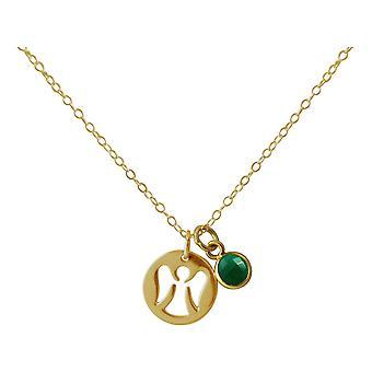Gemshine Halskette Anhänger Engel Schutzengel 925 Silber oder vergoldet Smaragd