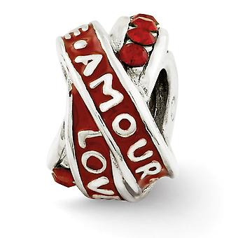 925 Sterling Silver Enamel Reflections Love Amour Red Crystal Bead Charm