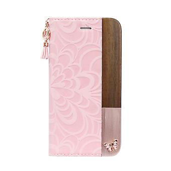 iPhone 8/7/6s/6 Case Embossed Butterfly Folio Hard Shell Pink