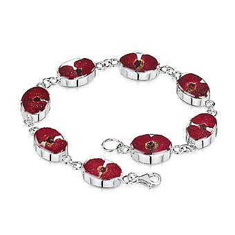 Eternal Collection Forever Memories Red Poppy Flower Sterling Silver Oval Link Bracelet