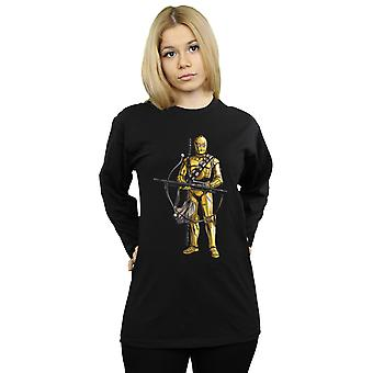 Star Wars der Aufstieg von Skywalker C-3PO Chewbacca Bowcaster langärmelige T-Shirt Frauen's Freund fit