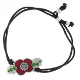 Kleshna Enamel Crystal Royal British Legion Poppy Bracelet