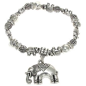 Antique Silver Indian Elephant Charm Stretch Bracelet