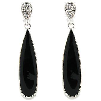 Clip-Ohrringe-Store, die schwarzer Emaille & Crystal Tear Drop Anhänger auf Ohrringe Clip