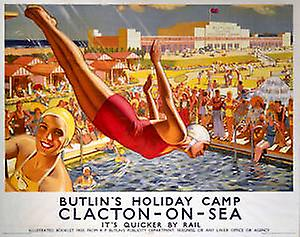 Clacton On Sea Butlins (old rail ad.) fridge magnet   (se)