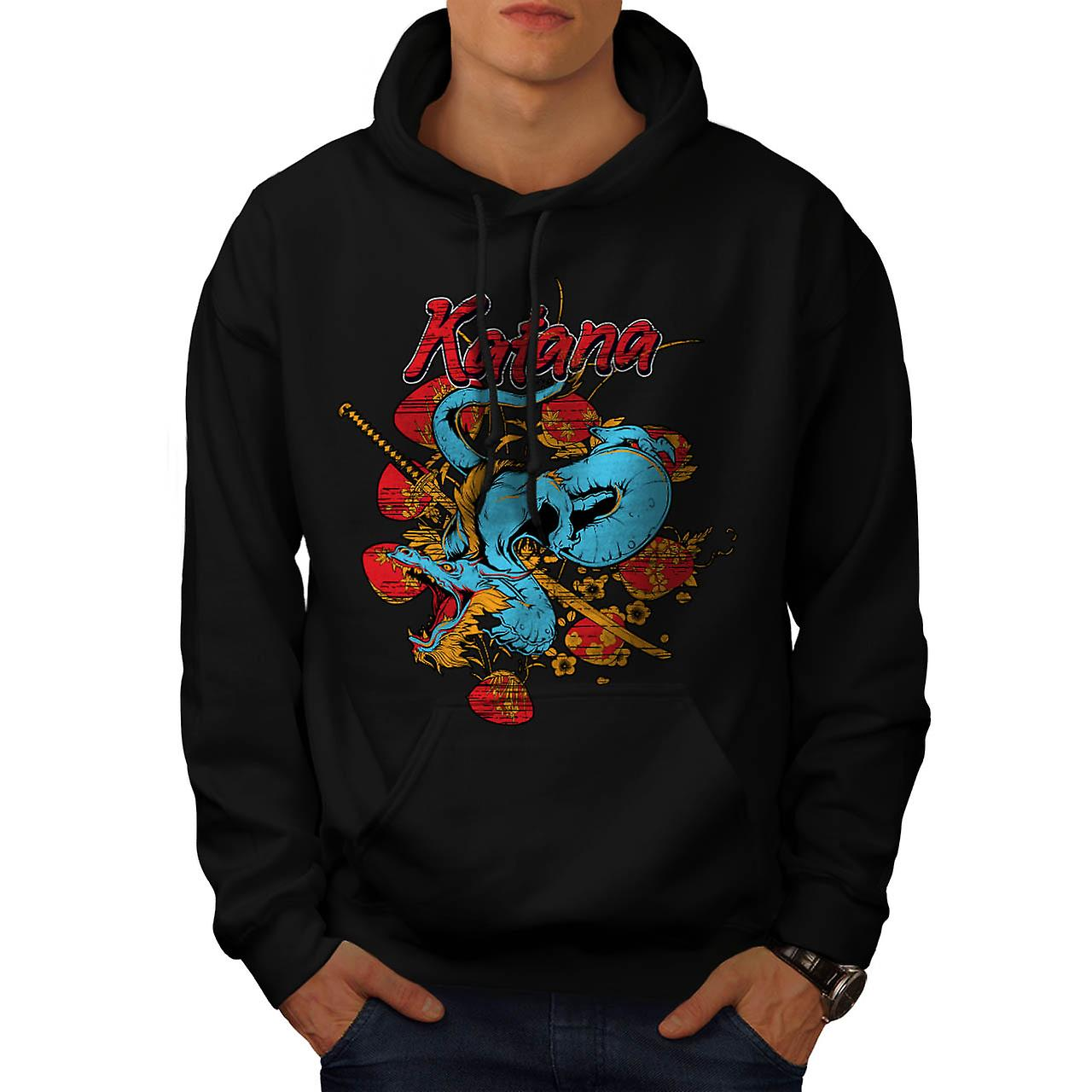 Katana Dragon Slayer Oriental Men Black Hoodie | Wellcoda