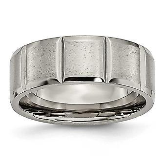 Titanium Engravable polerad och satin Notched 8mm räfflad Satin Band Ring - Ring storlek: 7-13