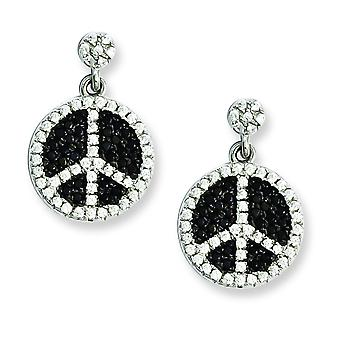 Sterling Silver Pave Black Rhodium-plated and Cubic Zirconia Brilliant Embers Peace Sign Dangle Post Earrings