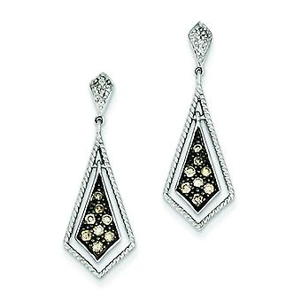 Sterling Silver Champagne Diamond Geometric Post Earrings - .33 dwt