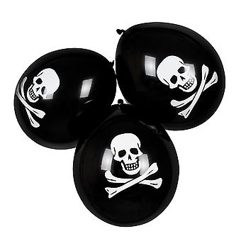 6 Pack of Halloween Pirate Skull & Cross Bone Decoration Party Balloons