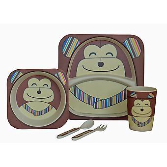 Navigate My Little Lunch 5 Piece Bamboo Dinner Set, Chimp