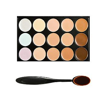 Boolavard® TM 15 Shades Colour Concealer Makeup Palette Kit Make Up Set with Cosmetics Oval Make up Brush