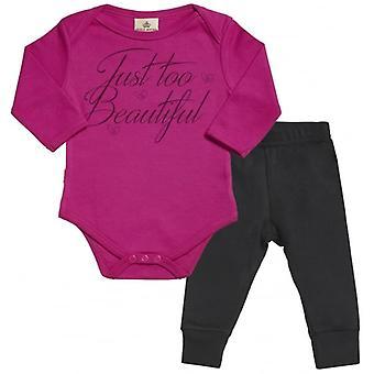 Spoilt Rotten Just Too Beautiful Babygrow & Jersey Trousers Outfit Set