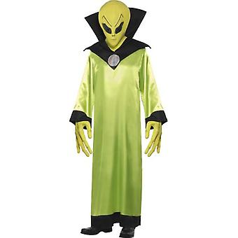 Smiffys Alien Lord Costume Green With Robe Mask And Hands (Kostuums)