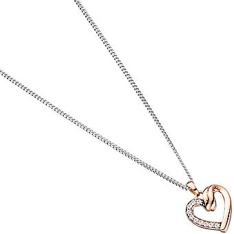 Pendant heart 333 gold rose gold with cubic zirconia heart pendant