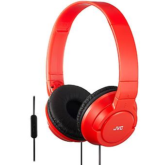 JVC Supra-Aural Powerfull Bass Headset with Remote Mic for iPhone Red HASR185RN