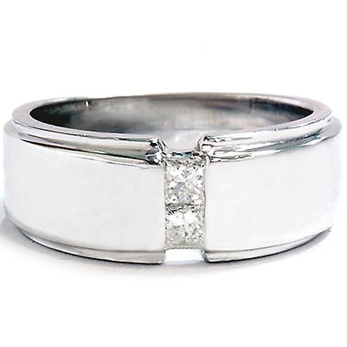 Pour des hommes 14K blanc or Princess Cut Diamond mariage sacue