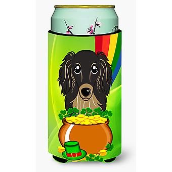 Longhair Black and Tan Dachshund St. Patrick's Day Tall Boy beverage Insulator H