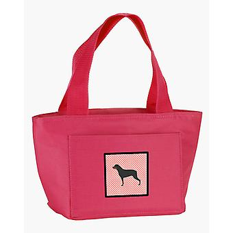 Carolines Treasures  BB3666PK-8808 Rottweiler Checkerboard Pink Lunch Bag