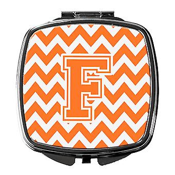 Letter F Chevron Orange and White Compact Mirror