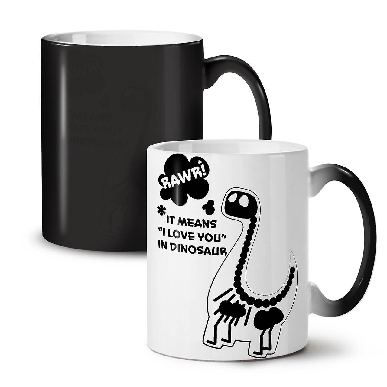 Noire OzWellcoda Dinosaur Thé Céramique Tasse Nouvelle Couleur Café 11 Rawr Changeant T'aime OZuPTkiX