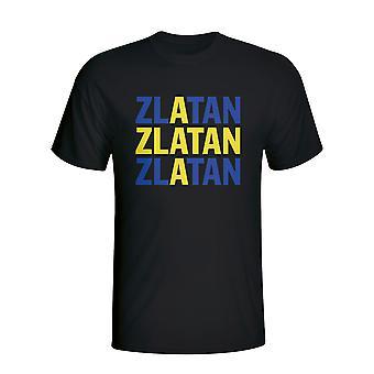 Zlatan Ibrahimovic Zweden speler vlag T-shirt (zwart)
