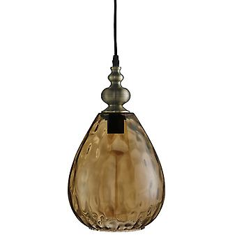 Indiana Antique Brass Pear Pendant With Amber Glass - Searchlight 2019am