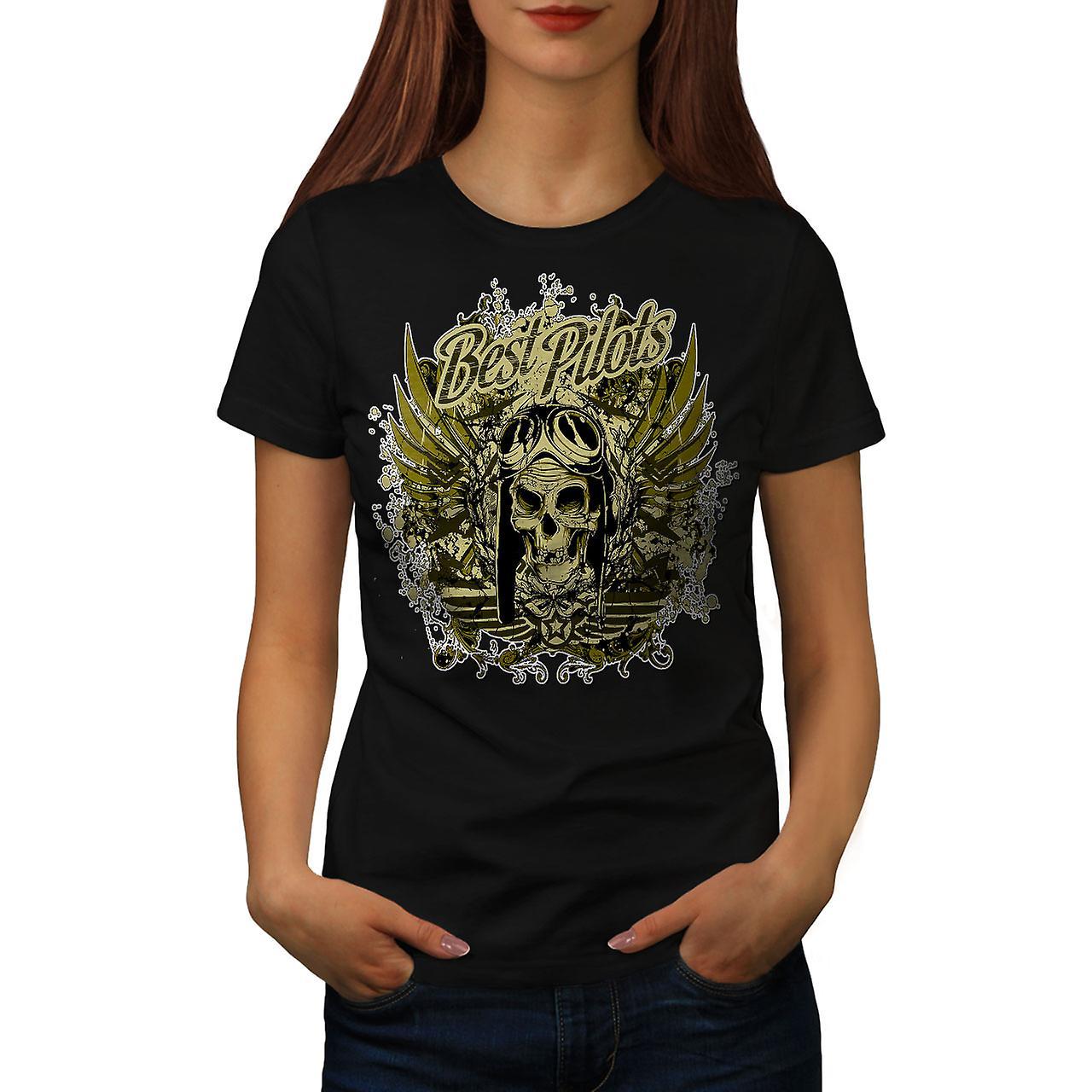 Best Pilot War Cool Skull Women Black T-shirt | Wellcoda