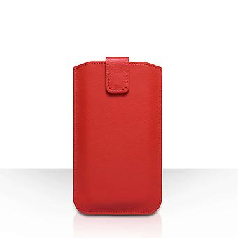 Caseflex PU læder Auto tilbagevenden trække fanen pose (M) - rød